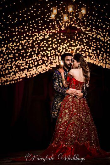 Photo of Romantic couple portrait on sangeet