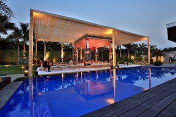 Photo of pool side mandap