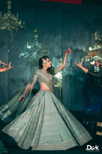 Dark Grey Bridal Lehenga Photo