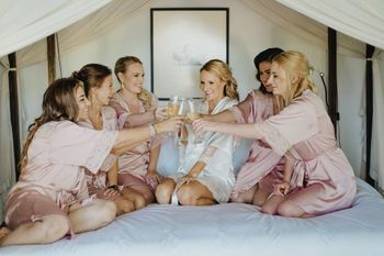 Bride getting ready shoot with bridesmaids
