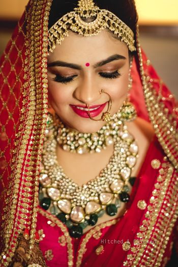 A close up shot of a bride on her wedding day