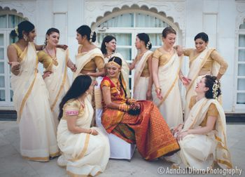 Photo of South Indian bride with coordinated bridesmaids