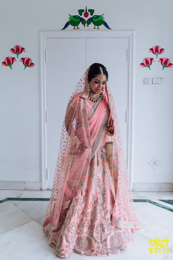 Pink and silver lehenga