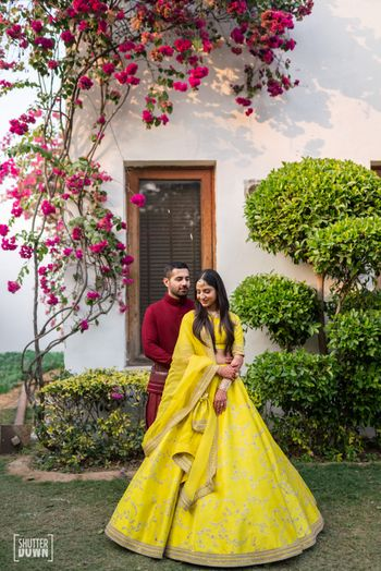 Bright yellow sabysachi lehenga for mehendi