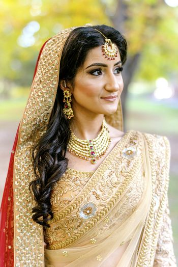 gold bridal portrait