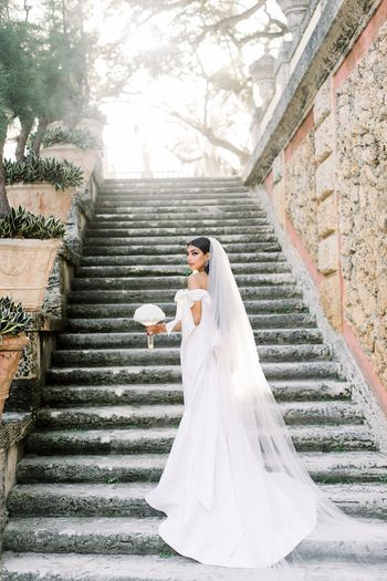 Long wedding gown with train and veil
