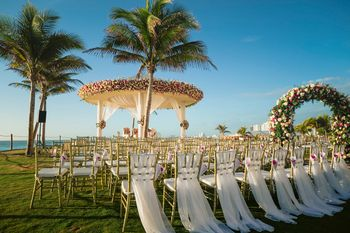 Photo of Dreamy open air wedding decor idea with mandap and chairs