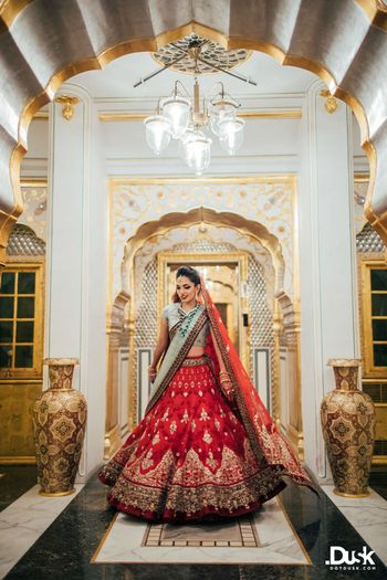 Red Bridal Lehenga Photo cherry red lehenga