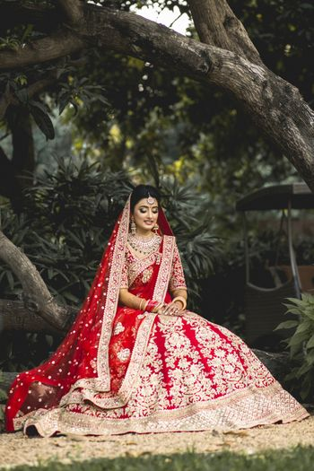 Pretty red bridal lehenga