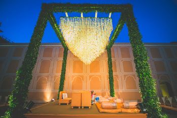 Floral chandelier at a mandap