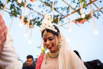 A happy bridal shot on her wedding.