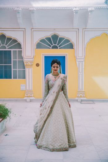 Photo of Simple bridal lehenga in offbeat hue