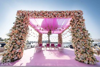 Floral light pink mandap Abu Dhabi