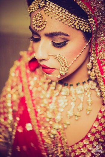Bridal portrait of regal indian bride