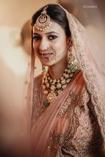 Photo of Unique bridal lehenga colour and jewellery