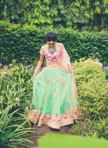 Photo of mint and pink lehenga