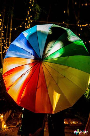 kiss behind the umbrella shot