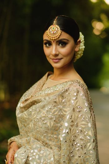 Bridal look for engagement with maangtikka
