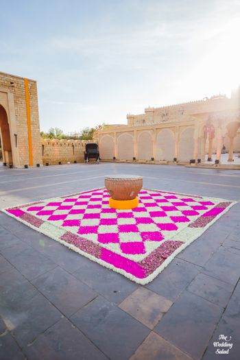 Photo of floral rangoli decor for welcome or entrance