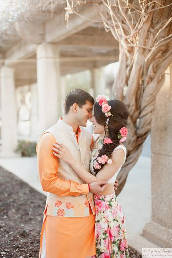 Cute romantic couple portrait on mehendi