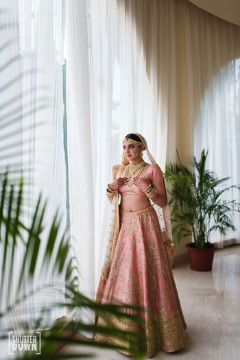 Light pink bridal lehenga portrait idea