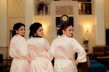 Coordinated bridesmaid robes
