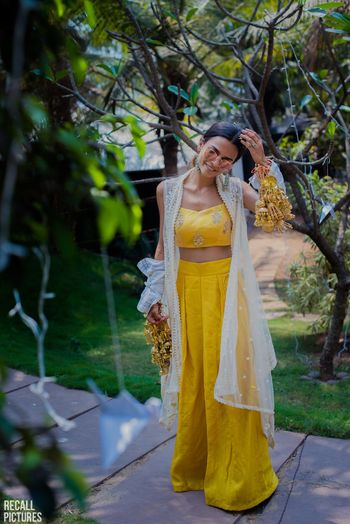 Haldi outfit crop top and palazzos