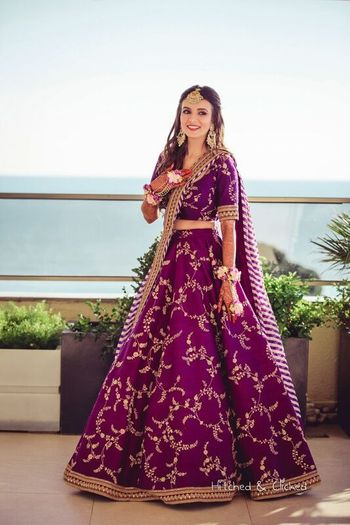 Photo of Sabyasachi aubergine lehenga