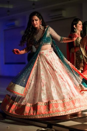 floral print lehenga in baby pink and white