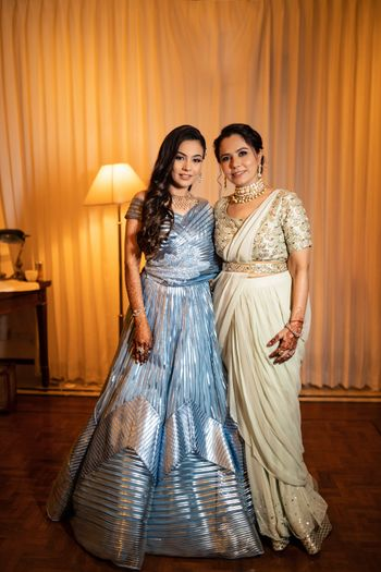 Bride with her mother on the engagement day
