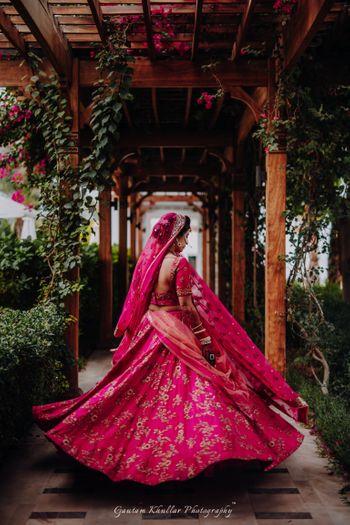 Beautiful hot pink bridal lehenga for the wedding
