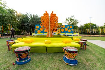 floral colourful mehendi seating idea