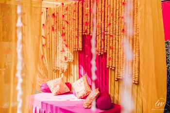 Photo of bridal seating idea for haldi