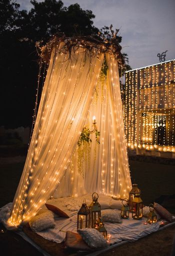 Mehendi seating arrangement with fairylights