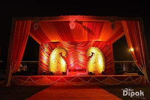 red stage decor