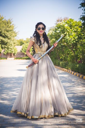 Bride holding sword