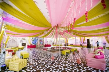 Photo of Lime green and light pink mehendi decor idea