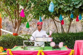 Cute mehendi food idea cotton candy stall