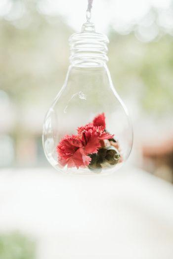 DIY decor idea with florals inside bulbs