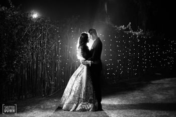 Black and white couple portrait on Sangeet