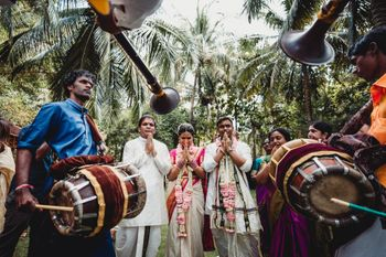 Bridal entry with dhol walas for traditional south indian wedding