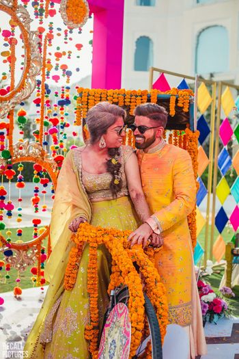 Photo of Couple portrait after holi party on mehendi