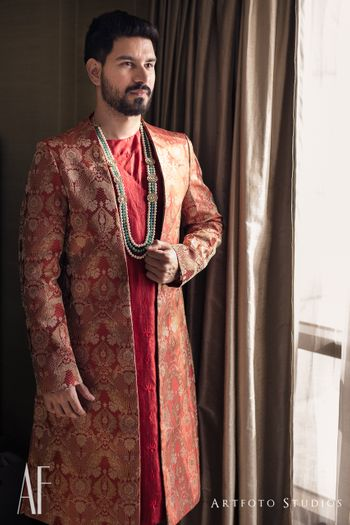 Layered sherwani for groom in brocade