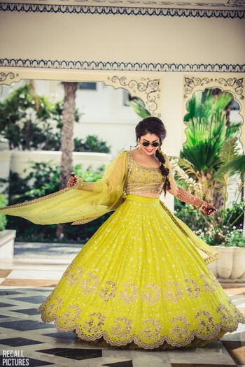 Lime green mehendi lehenga by anushree reddy