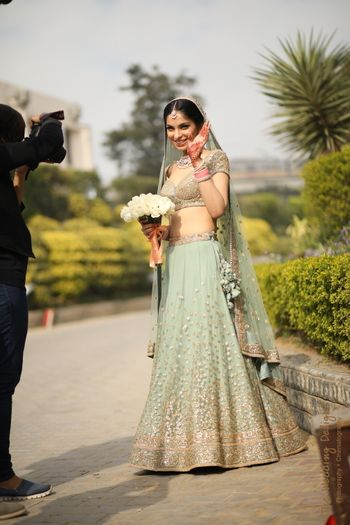 Photo of Unique offbeat colour sabysachi bridal lehenga