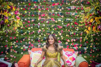Photo of Stunning floral backdrop with roses for mehendi