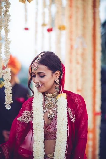 Happy bride with unique bridal look