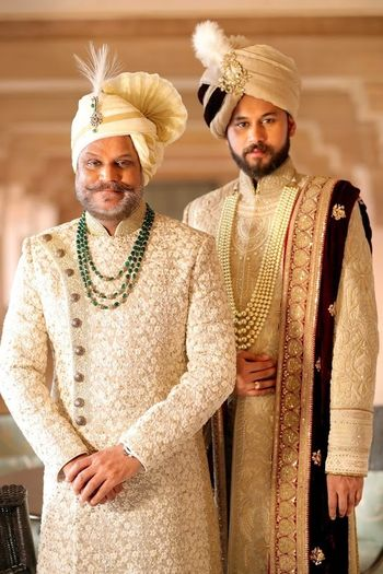 Groom portrait with father