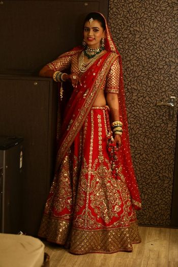 Photo of Red classic bridal lehenga in raw silk with large motif of intrictae embroidery