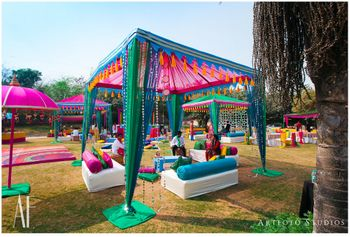 Photo of Funky mehendi decor scheme